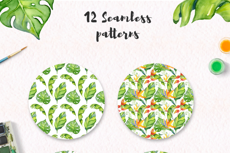 tropical-patterns-digital-paper-seamless-pattern-watercolor-tropical-leaves-and-flowers-clipart-nbsp