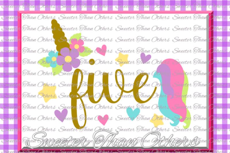 fifth-birthday-svg-5th-birthday-unicorn-svg-girl-dxf-silhouette-studios-cameo-cricut-cut-file-instant-download-vinyl-design-htv-scal-mtc