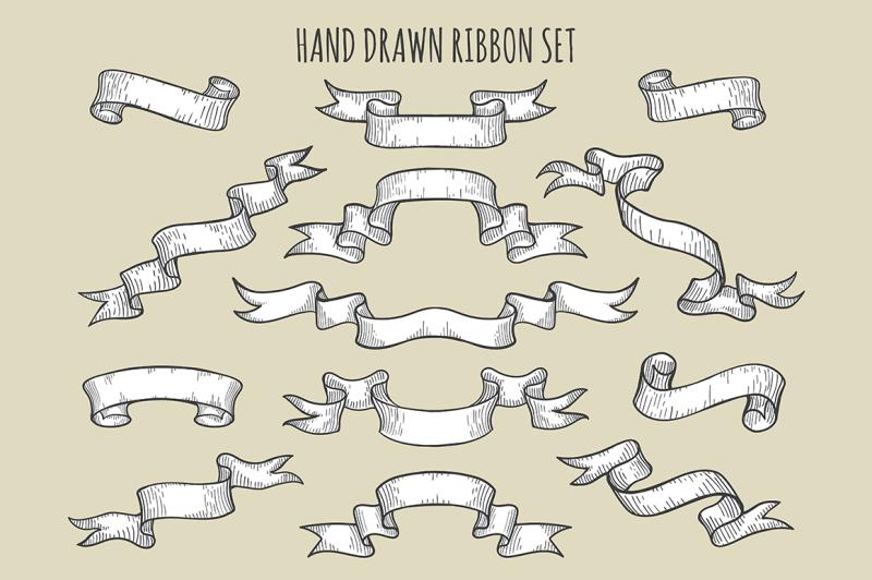 hand-drawn-ribbon-set