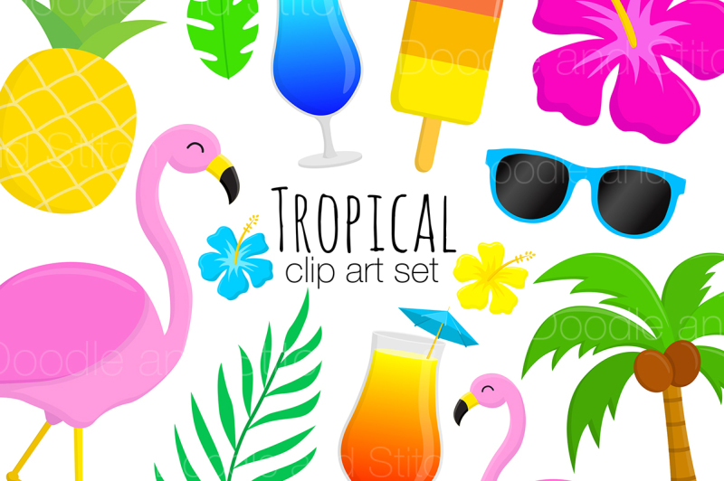 tropical-summer-clipart-set