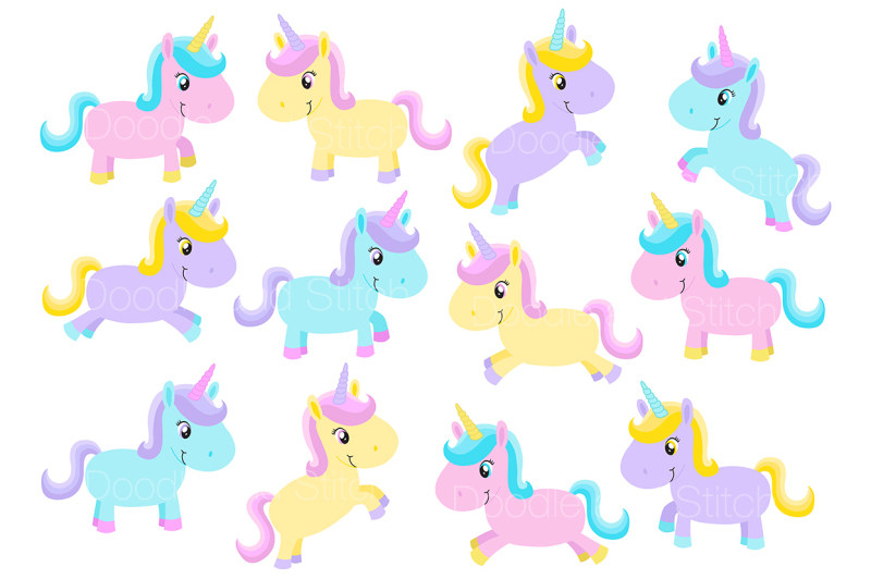 cute-unicorn-clipart-set