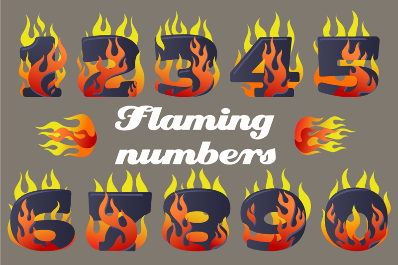 vector-icons-set-of-flaming-numbers