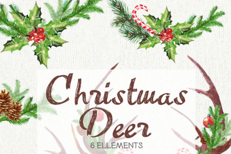 Christmas Deer Watercolor Deers Antlers Bullfinches Hand