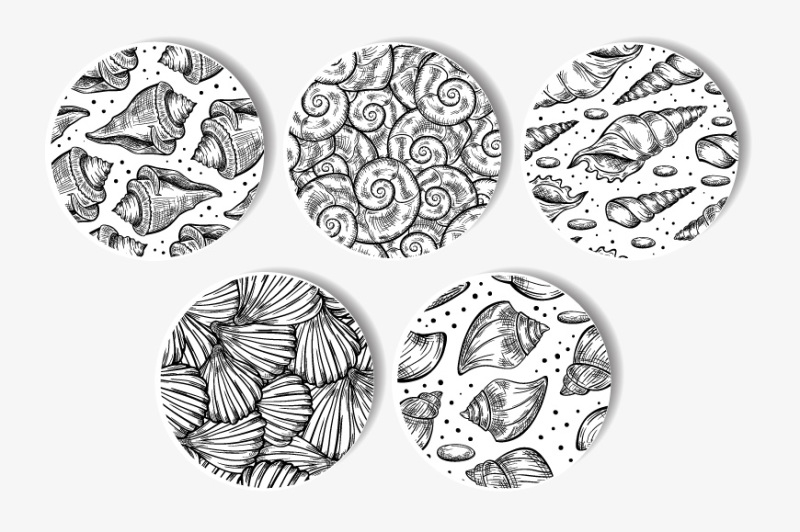 5-black-and-white-sea-shells-pattern