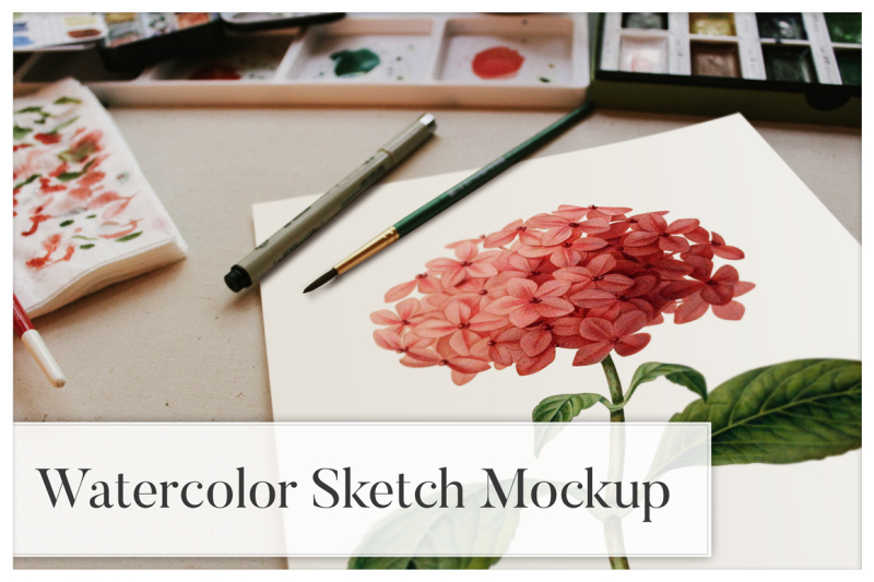 Free Watercolor Sketch Mockup (PSD Mockups)