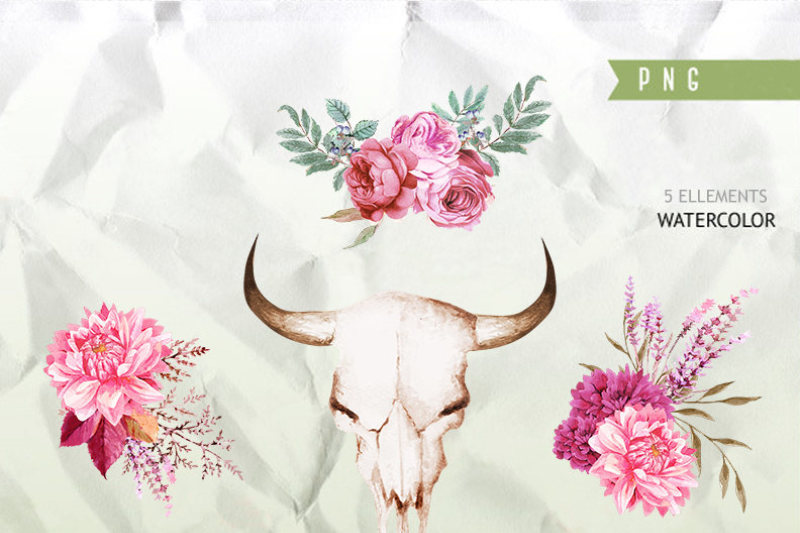 boho-bordo-watercolor-clipart-burgundy-white-red-flowers-deer-scull-horns-antlers-wedding-clipart-floral-bouquets-wreaths