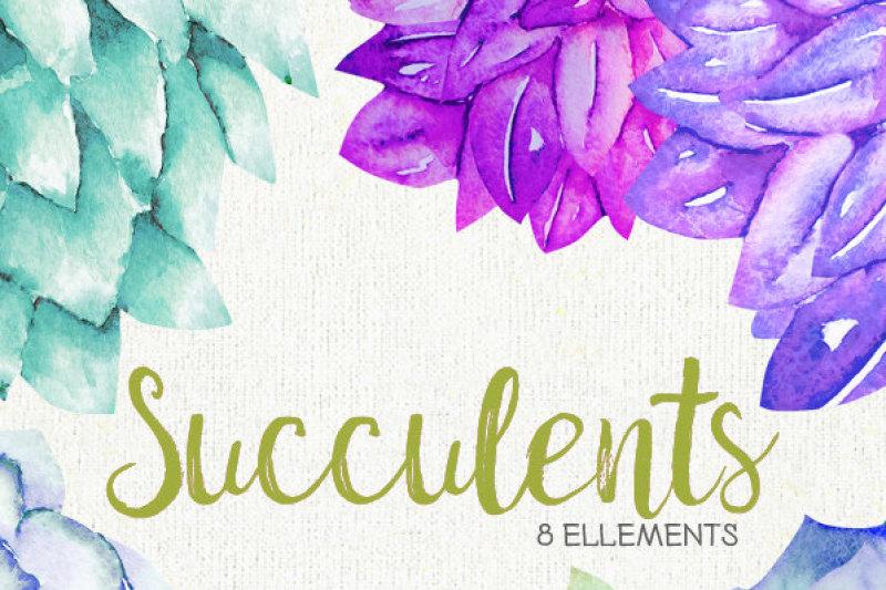 watercolor-succulents-clipart-hand-painted-wedding-diy-elements-plants-printable-instant-download-wedding-bouquet-invitations