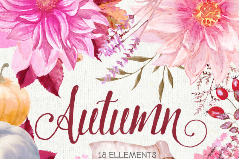 pumpkin-amp-dahlias-watercolor-clipart-burgundy-autumn-fall-leaves-halloween-digital-elements-hand-painted-clipart-instant-download