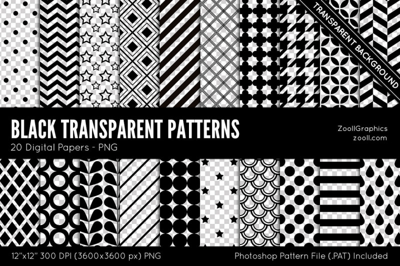 black-transparent-patterns-digital-papers