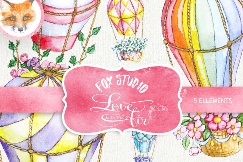 air-balloons-romantic-wedding-digital-watercolor-valentine-love-digital-valentine-background-paper-pack-watercolor-flowers-digital