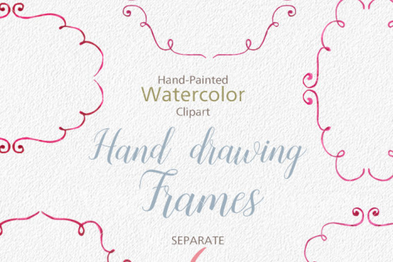 watercolor-cliparts-frames-and-ribbons-pink-green-digital-cliparts-for-branding-and-scrapbooking