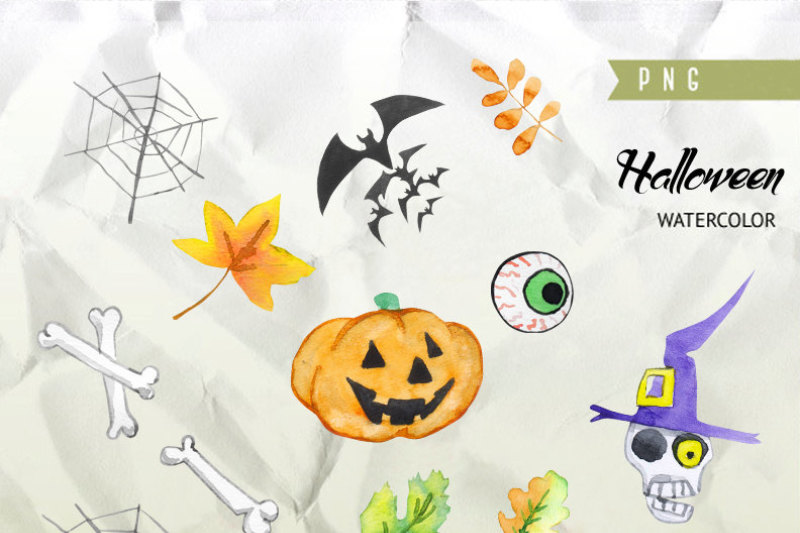 halloween-watercolor-clipart-pumpkin-autumn-leaves-wooden-sign-fall-holiday-party-skull-spider-hand-painted-diy-greeting-card