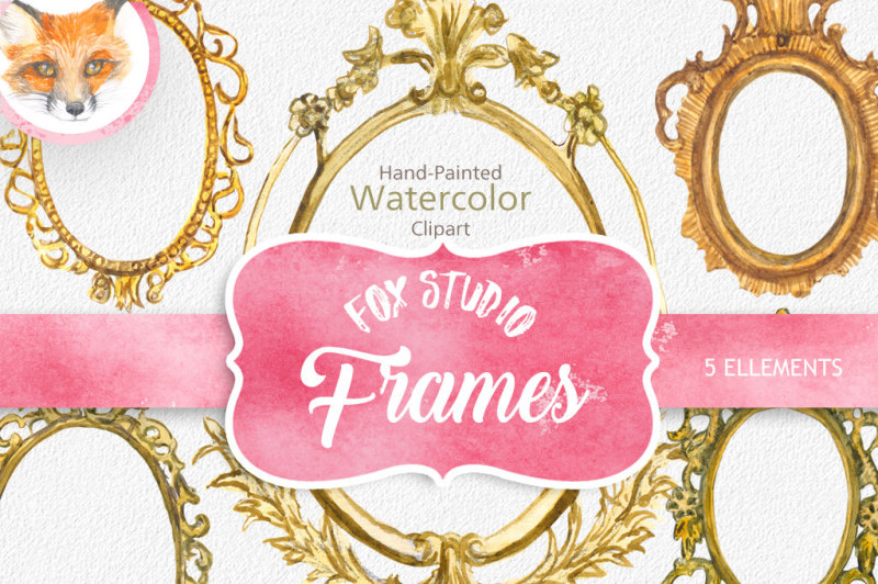 Hand Painted Golden Watercolor Frames Clipart - Watercolor Frames Clip