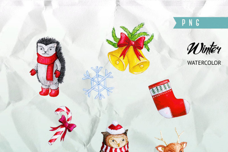 cute-watercolor-characters-clipart-christmas-clipart-instant-download-png-file-300-dpi-owl-bear-deer-hedgehog
