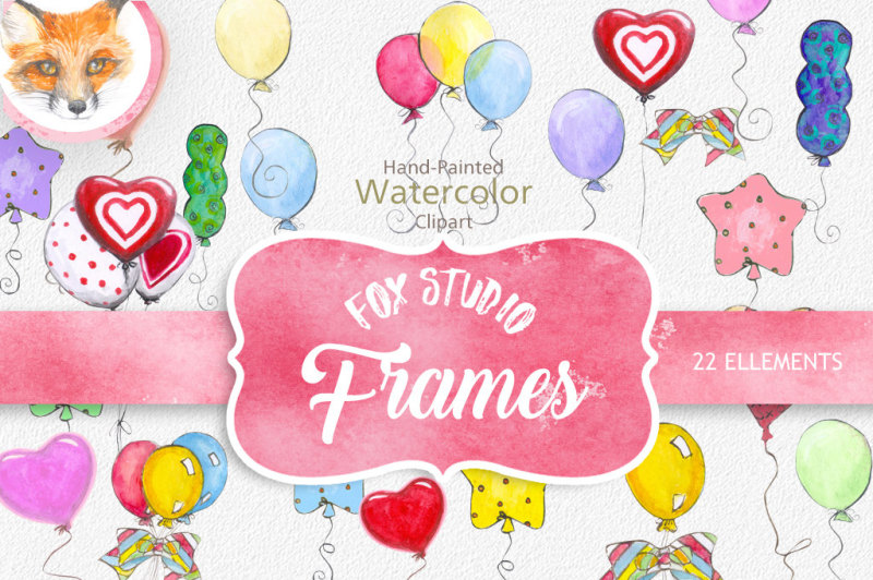 Watercolor balloon clipart, watercolour balloons clipart, hand drawin clipart, pink watercolor balloon, overlays digital, Instant download