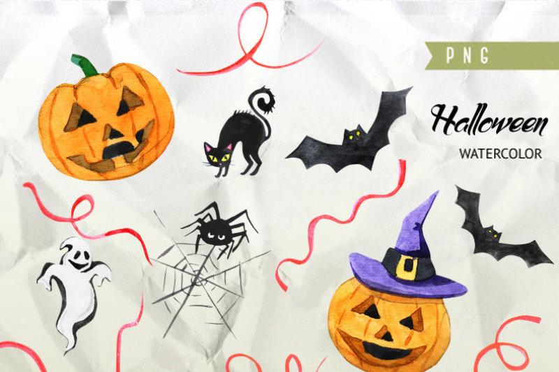 halloween-watercolor-clipart-autumn-pumpkin-fall-holiday-party-hats-lamp-spider-bat-hand-painted-scrapbook-diy-greeting-card