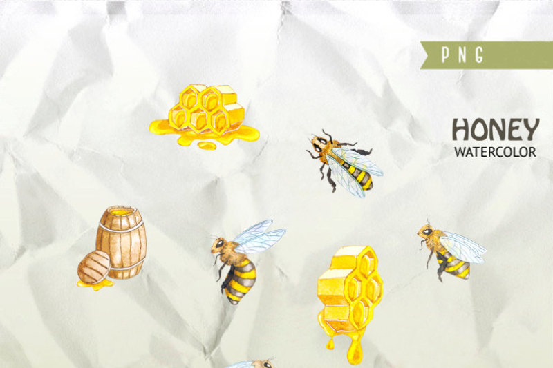 watercolor-honey-bee-clipart-honeycomb-hand-painted-digital-clip-art-instant-download-diy-invites-scrapbooking-summer-yellow-colors