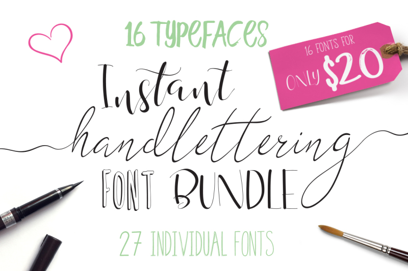 font-bundle-instant-hand-lettering