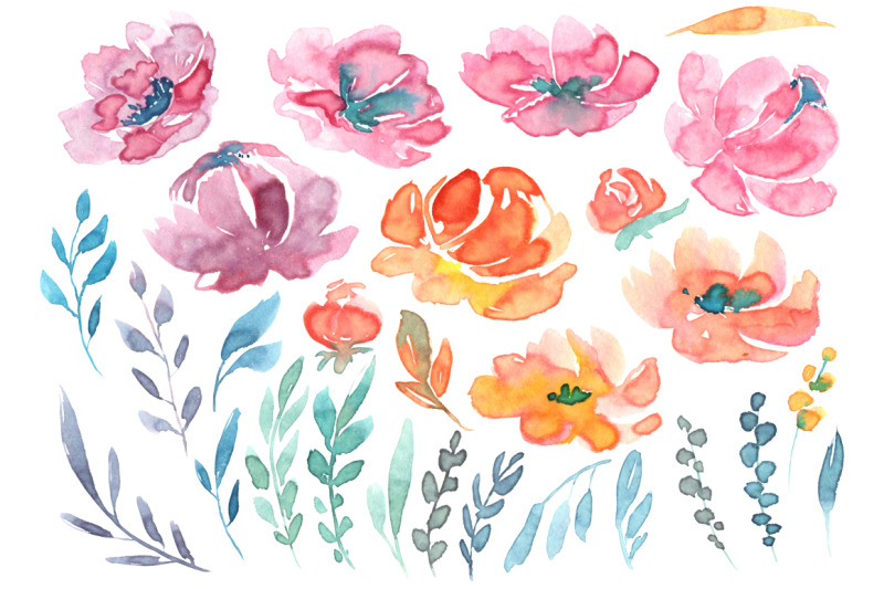 watercolor-flowers-and-leaves-floral-clipart