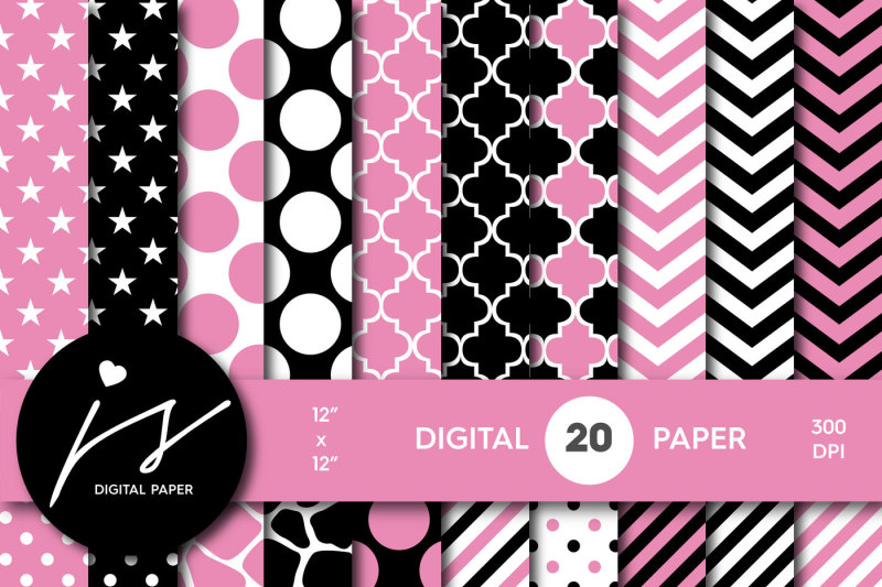 cotton-candy-pink-and-black-digital-paper-pa-180