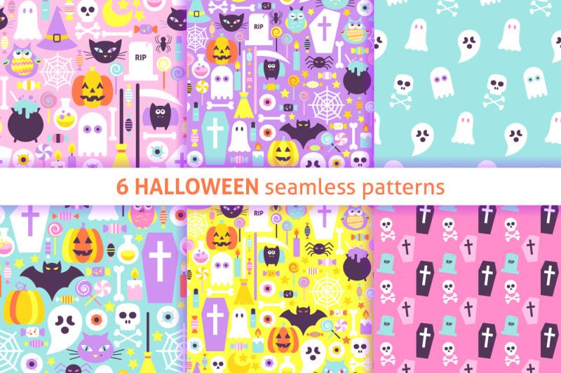 halloween-pastel-seamless-patterns