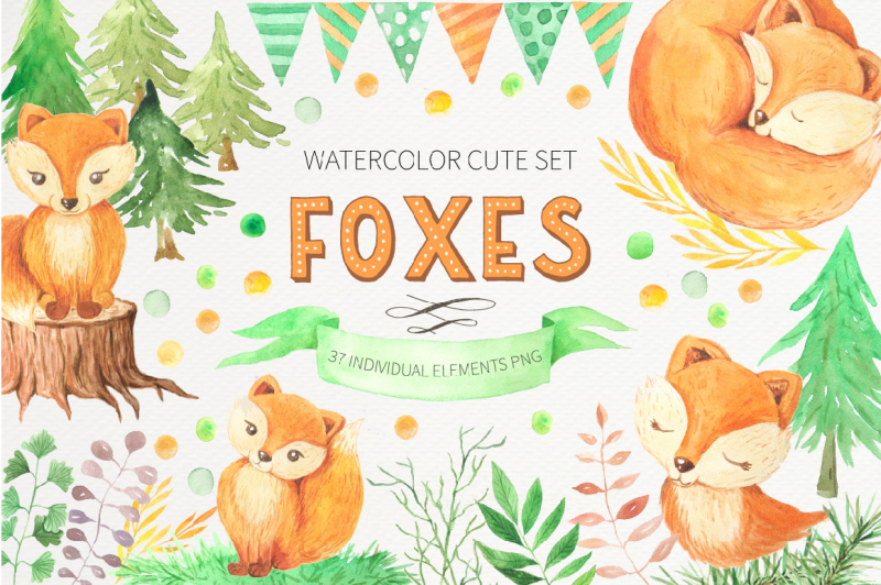 watercolor-cute-foxes-and-floral-set