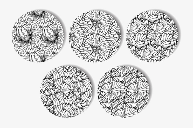 black-and-white-floral-seamless-patterns-set