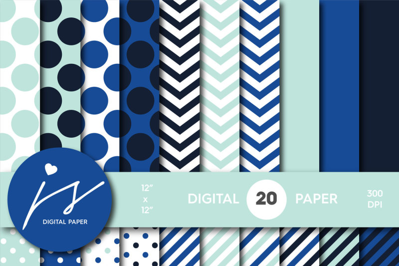 mint-and-royal-blue-digital-paper-with-stripes-chevron-and-polka-dots-mi-746