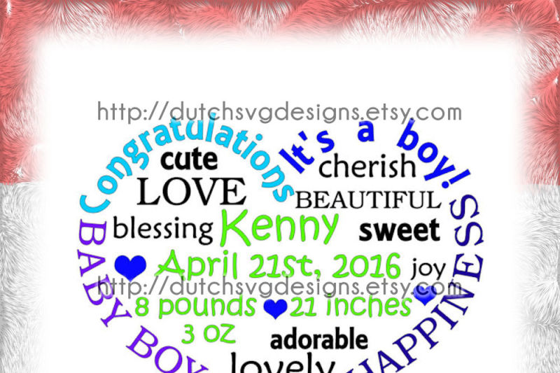 Baby Boy Cutting File In Heart Shape In Jpg Png Svg Eps Dxf For