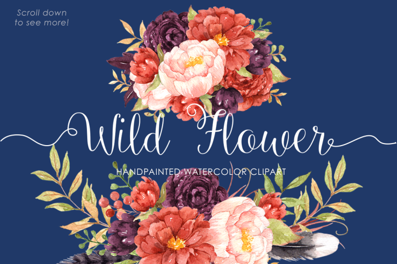 wild-flower-watercolor-clip-arts