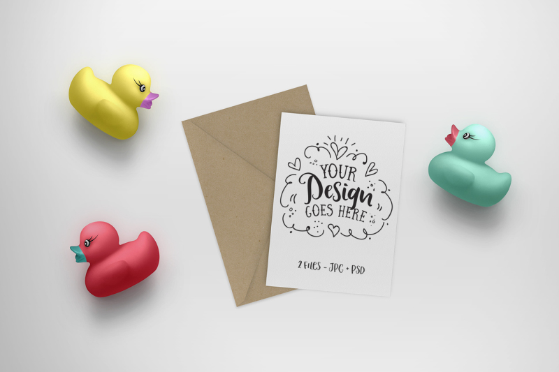 Free Rubber Duck toy & Greeting Card Mock up 25-014 (PSD Mockups)