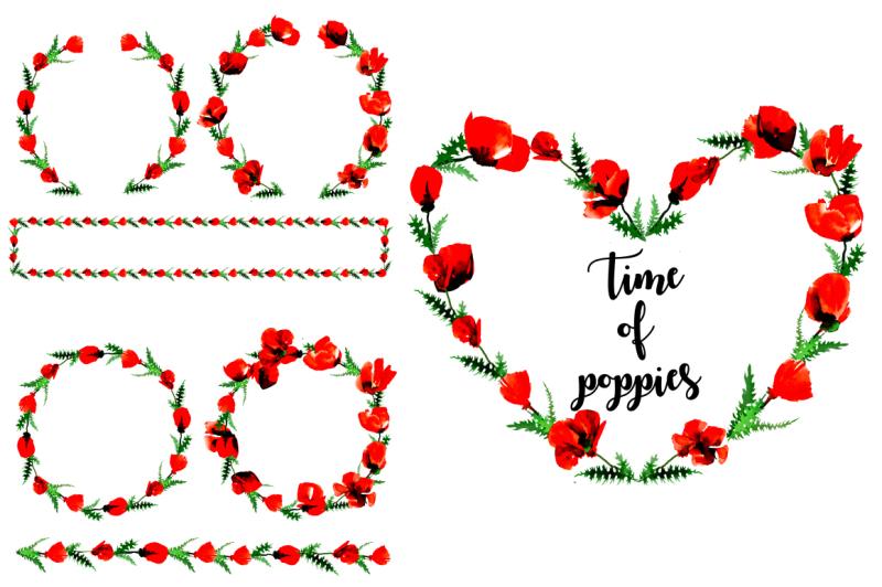 poppy-flowers-watercolor-set