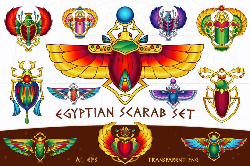 egyptian-vector-scarab-set