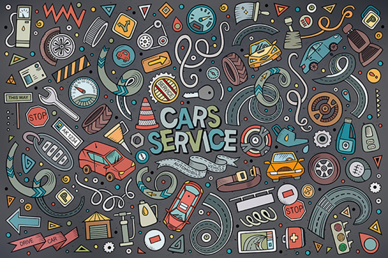 cars-service-objects-and-symbols-set
