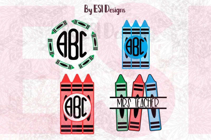 crayon-monogram-designs-set-svg-dxf-eps-and-png