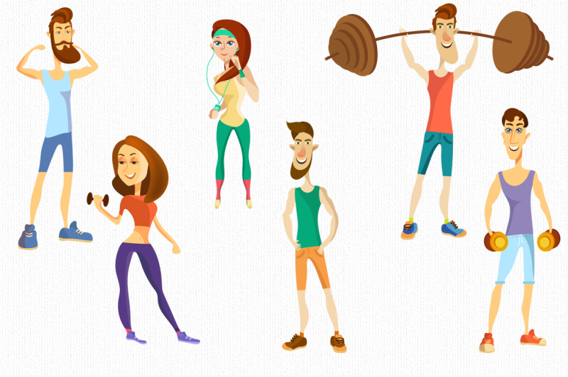 fitness-characters-athletes-set