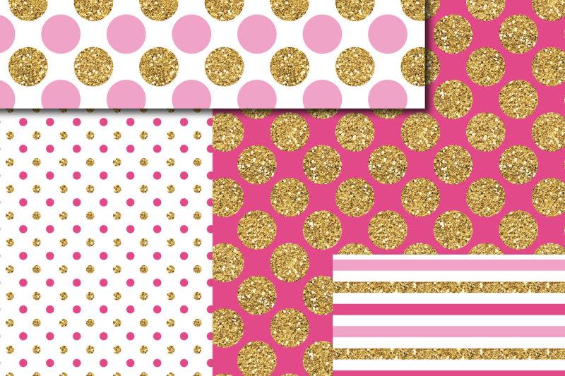 pink-and-hot-pink-gold-digital-paper-glitter-digital-paper-gold-polka-dots-stripes-stars-mi-758