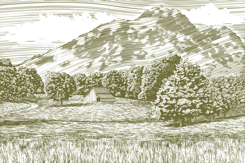 woodcut-barn-and-mountain-landscape