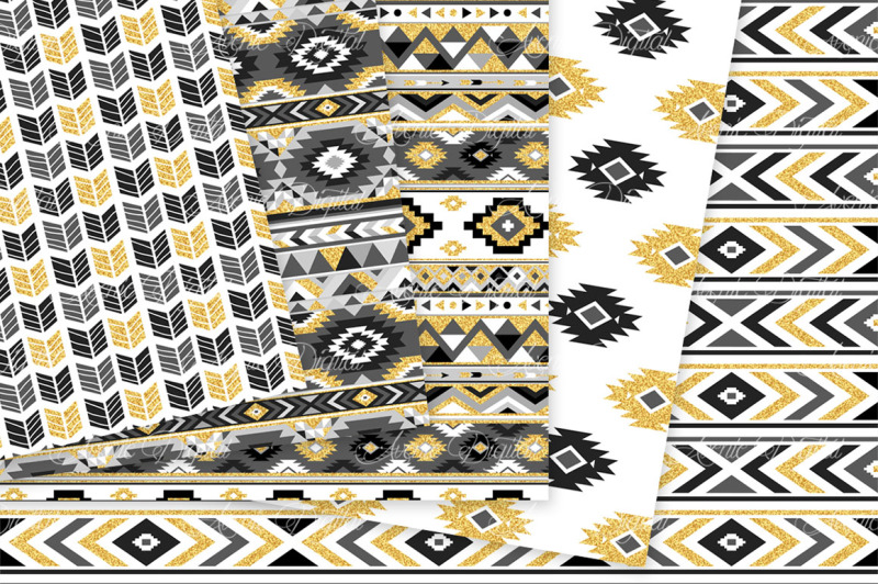 black-and-gold-aztec-digital-paper