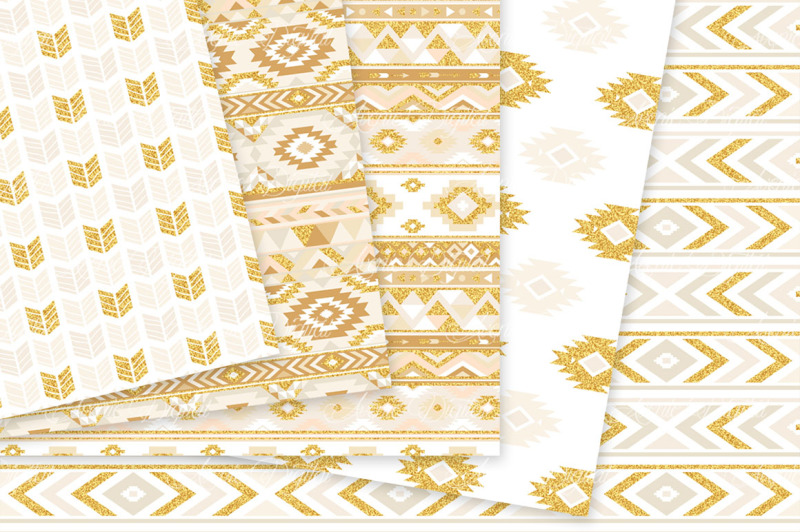 ivory-and-gold-aztec-digital-paper