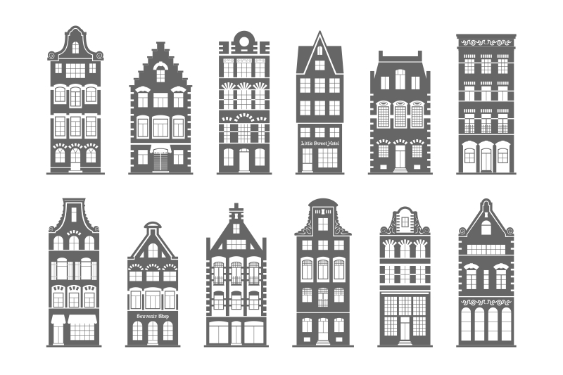 set-of-12-shapes-amsterdam-old-houses-facades