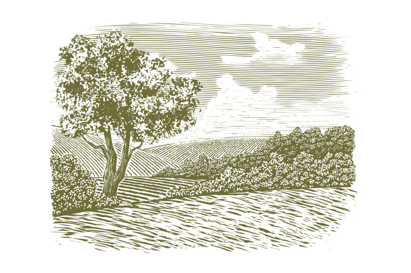 woodcut-countryside-scene