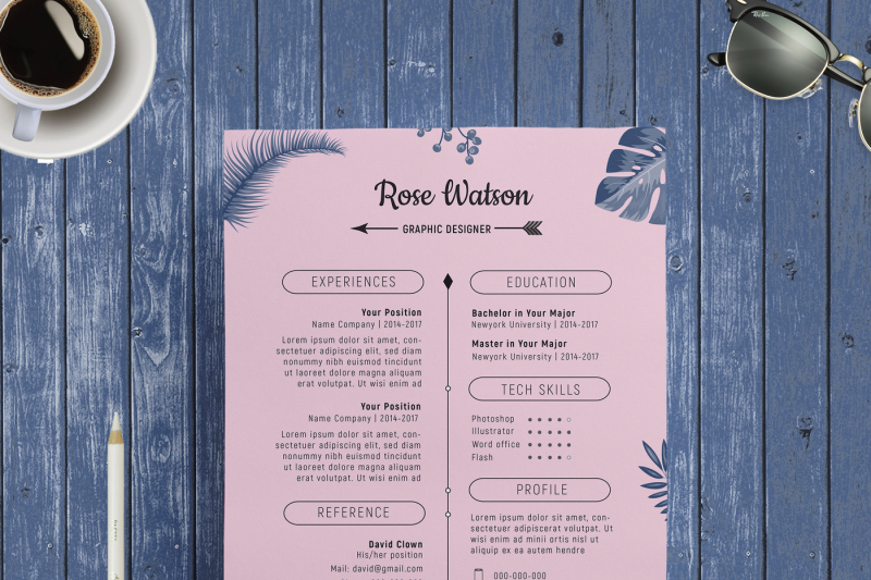 jungle blue-pink resume template   letterhead   g by showy68template