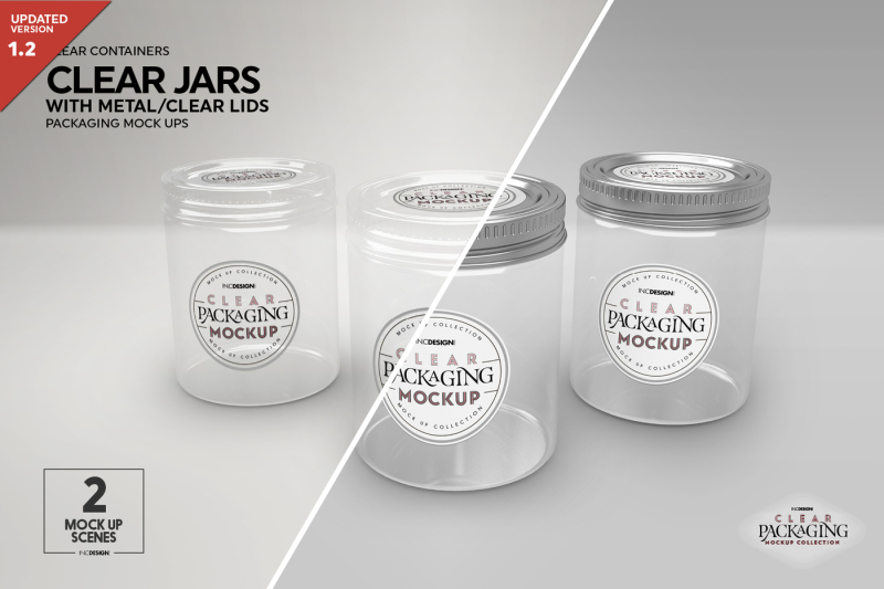 Free Clear Jars with Metal or Clear Lids (PSD Mockups)