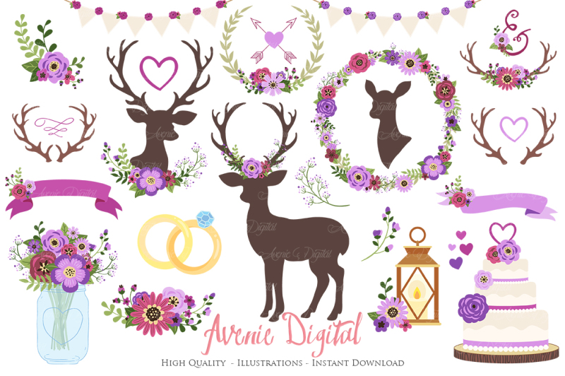purple-rustic-wedding-clipart