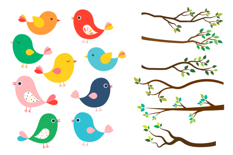 Cute Colorful Birds Clipart Tree Branches Green Leaves Spring Bird
