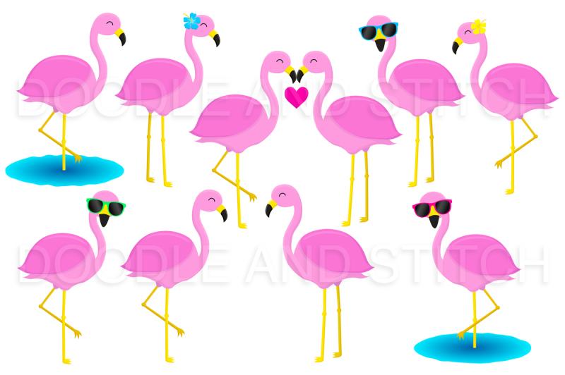 flamingo-clipart-set