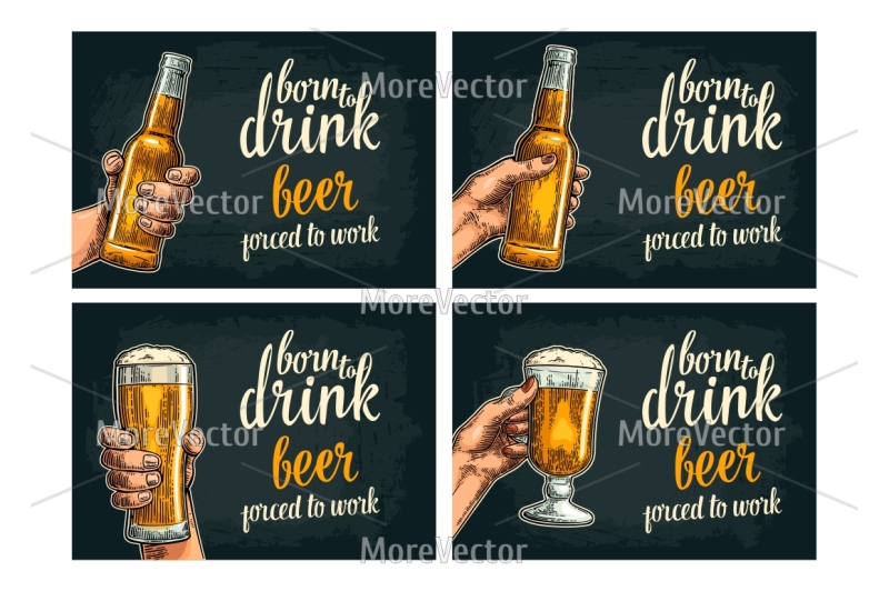 beer-set-poster-and-seamless-pattern-with-hand-glass-bottle-hop-ear-barrel-tanks