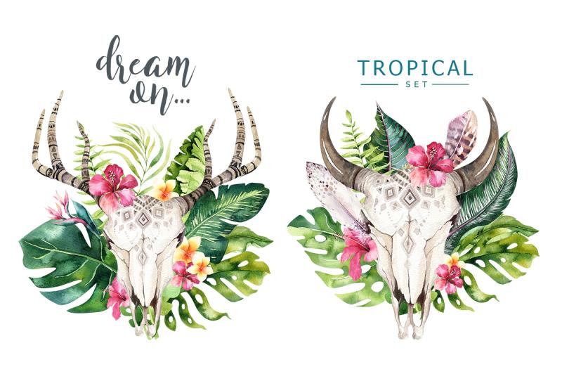 tropical-boho-skulls-and-bouquets