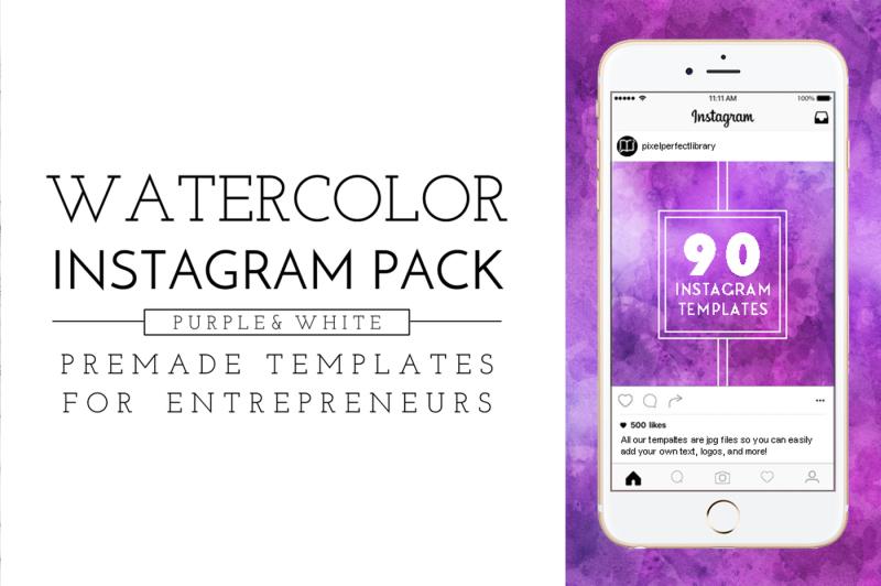 purple-watercolor-instagram-pack
